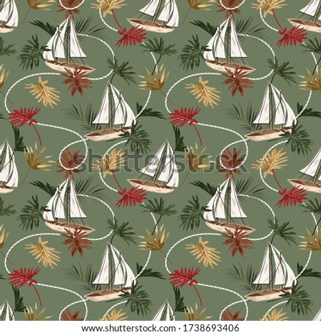 Vintage tropical leaves ,boat,and sailor rope seamless pattern in vector EPS10 hand drawn style,Design for fashion,fabric,web,wrapping,wallapaper,textile and all prints on retro green background