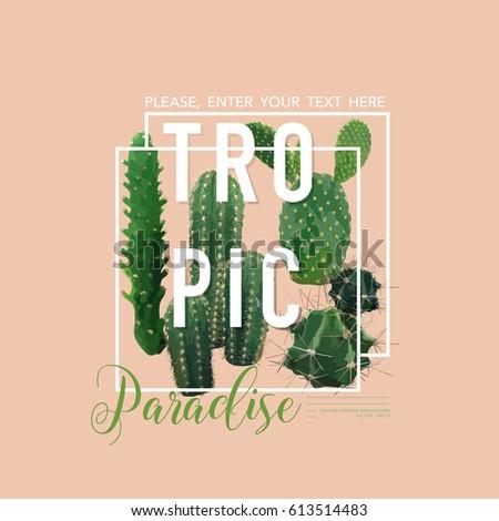 vintage tropical summer cactus...
