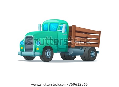 Vintage truck cartoon style vector illustration. Retro lorry.