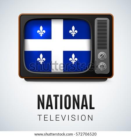 Vintage TV and Flag of Quebec as Symbol National Television. Tele Receiver with flag design