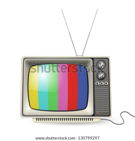 Vintage tv with colors on the screen - stock vector