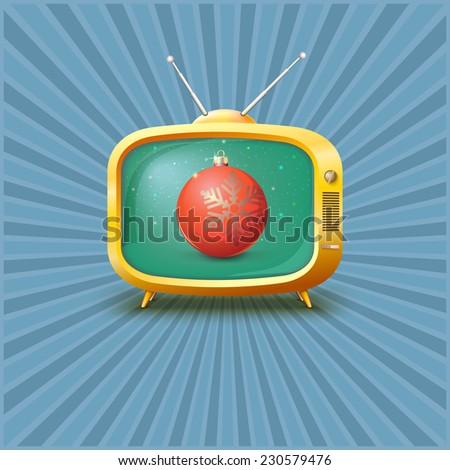 vintage tv with red christmas