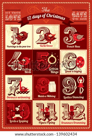 vintage twelve days of christmas calendar template vector/illustration advent calendar