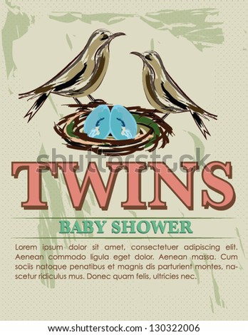 Vintage Twin Baby Shower Card with Birds and Nest