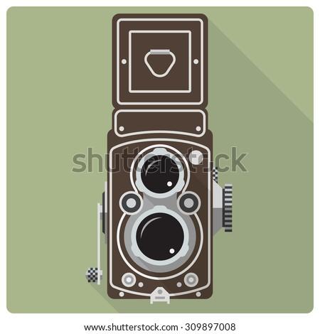 Vintage twin lens reflex camera vector icon. Flat design retro vector icon of vintage medium format camera
