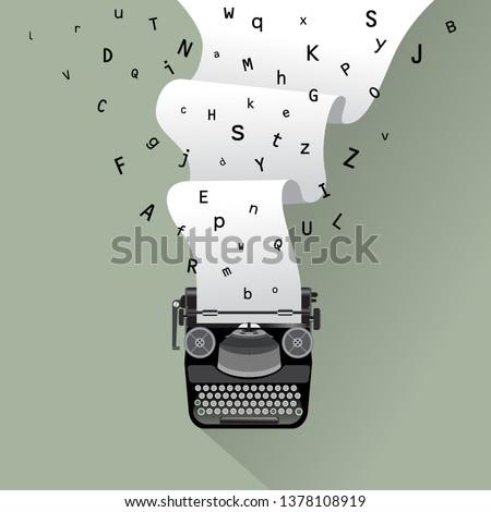 Vintage typewriter and paper illustration, for print, cover, banner etc. ストックフォト ©
