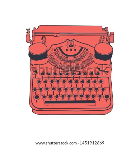 Vintage typewriter color vector of retro illustration, inspire writers, screenwriters, copywriters and other creative people