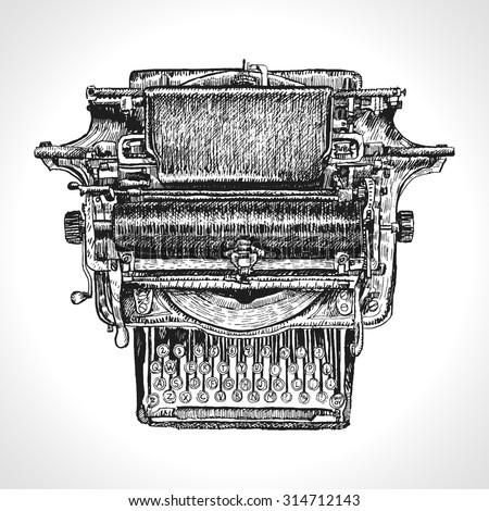 vintage typewriter  drawing ink