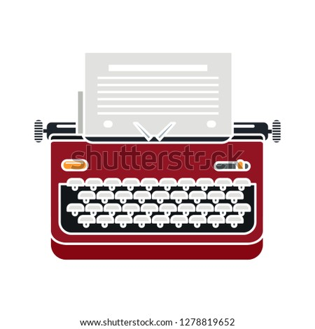vintage typewriter icon -vintage  icon illustration. typewriter sign symbol - secretary writing symbol- keyboard illustration - secretary equipment sign