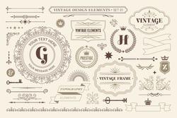 Vintage typographic design elements set vector illustration. Labels and badges, retro ribbons, luxury ornate logo symbols, calligraphic swirls, flourishes ornament vignettes and other