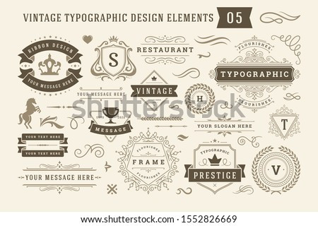 Vintage typographic design elements set vector illustration. Labels and badges, retro ribbons, luxury ornate logo symbols, calligraphic swirls, flourishes ornament vignettes and other.