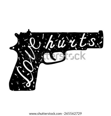 vintage typographic gun love