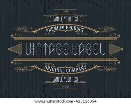 Vintage typographic label premium - vector