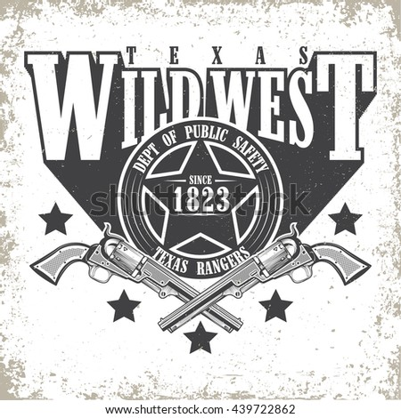 Vintage typography, Wild West t-shirt graphics,  apparel stamps, tee print design, emblem of rangers, vector