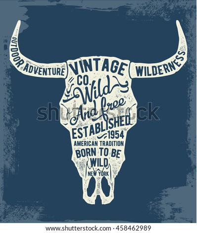 vintage typography with cow...