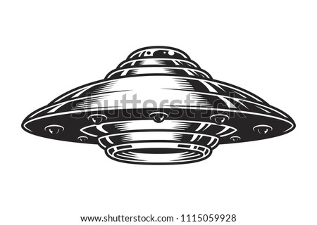 Vintage UFO spaceship concept in monochrome style isolated vector illustration