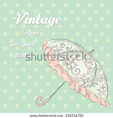 vintage umbrella vector . hand...