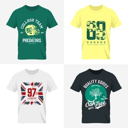 Vintage United Kingdom flag, Canada number, American football collage team and oak tree tee print vector design set. Premium quality Great Britain number logo concept. London t-shirt wear mock up.