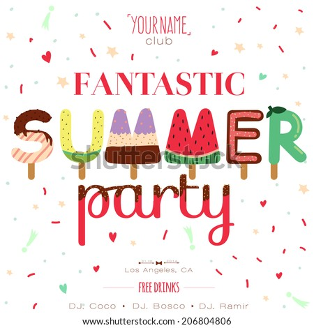 Vintage unusual invitation card on summer beach party. Cute illustration ornaments with ice cream typography. Summer holidays, tropical paradise, sea, sunshine, weekend tour, beach vacation.