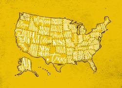 Vintage usa map with states inscription california, florida, washington, texas, new york, kansas, nevada, tennessee, missouri, arizona, illinois, oregon, louisiana drawing on yellow paper