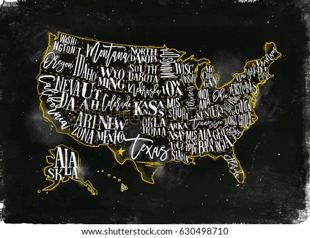 vintage usa map with states