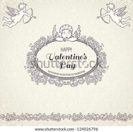 Vintage valentine background with cupids
