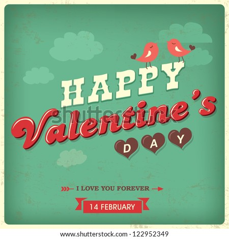 Vintage valentine's day background with typography