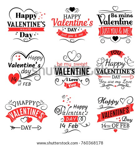 Vintage valentines day vector banners for love greeting card. Retro valentine logo set