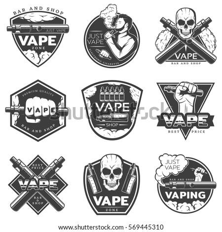 vintage vape labels with...