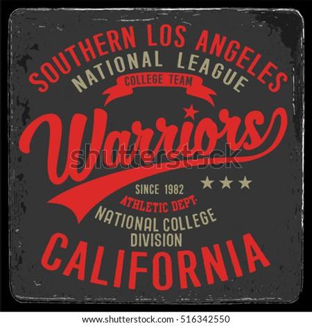 Vintage Varsity graphics and Emblem with grunge background.