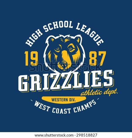 Vintage Varsity Grizzlies Team Sport T-Shirt Apparel ...