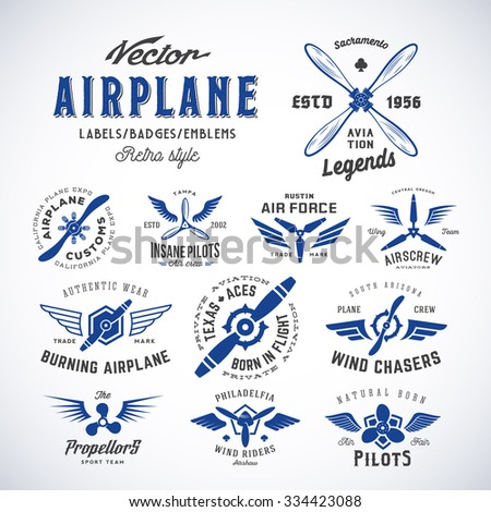 vintage vector airplane labels