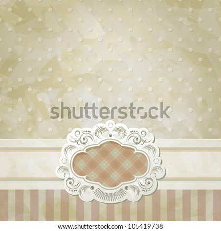 Vintage vector background and frame for invitation, announcement or menu