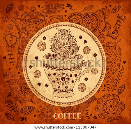Vintage vector background with coffee cup