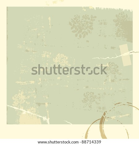 Vintage vector background with flowers and coffee stains.