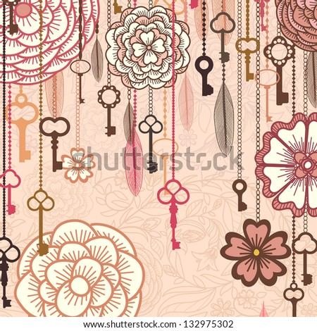 Vintage vector background with flowers,keys and feathers