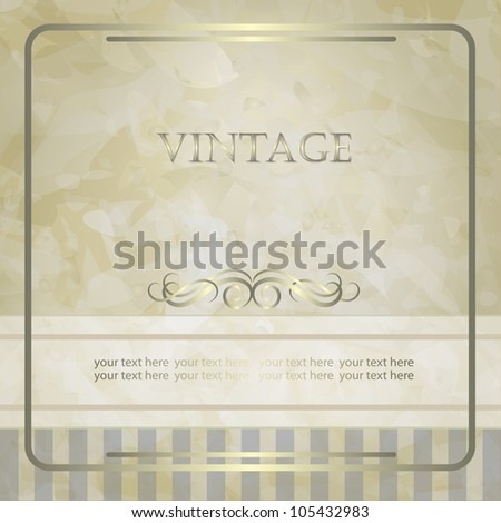 Vintage vector background with golden design for invitation, announcement or menu