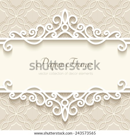 Vintage vector background with paper border decoration, divider, header, ornamental frame template, eps10 #243573565