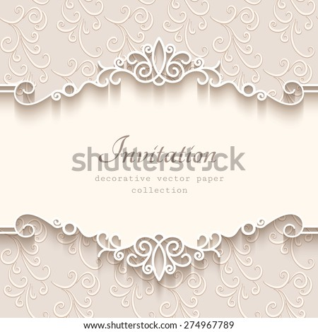 Vintage vector background with paper border decoration, divider, header, ornamental frame template, eps10