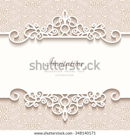 Vintage vector background with paper border decoration, divider, header, ornamental frame template, eps10 #348140171