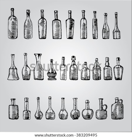vintage vector bottle set hand...