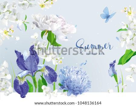 vintage vector bouquet blooming