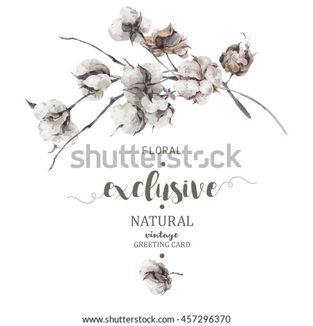 Vintage vector bouquet of twigs and cotton flowers. Botanical illustrations. Greeting card.