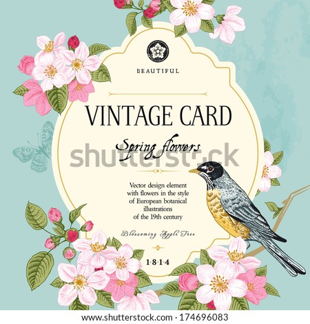 Vintage vector card spring. Bird on a branch of apple blossoms pink flowers on mint background.