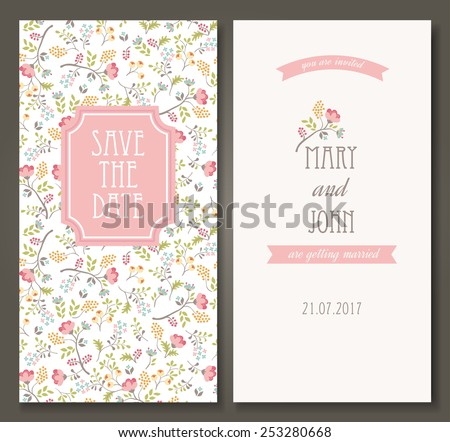 Vintage vector card templates. Can be used for Save The Date, baby shower, mothers day, valentines day, birthday cards, invitations. Seamless pattern is masked