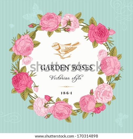 Vintage Vector Card With A Round Frame Of Pink Garden Roses On Mint Background. Victorian Style ...