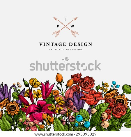 stock-vector-vintage-vector-card-with-engraving-flowers-graphic-floral-style-apple-lilac-peach-sunflower