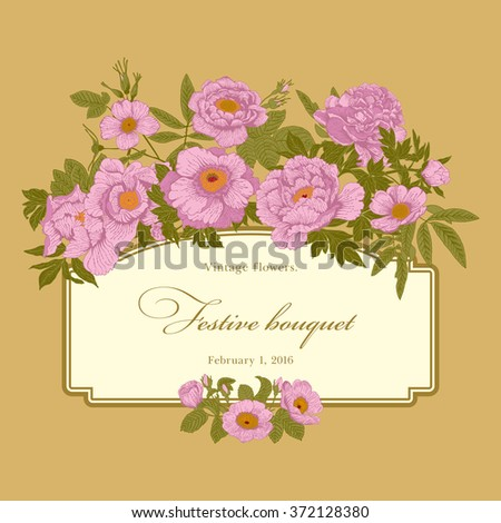 Vintage vector card with flowers.
