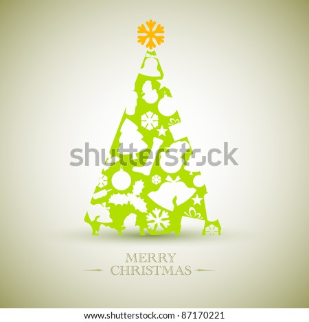 Vintage Vector christmas tree made from various shapes