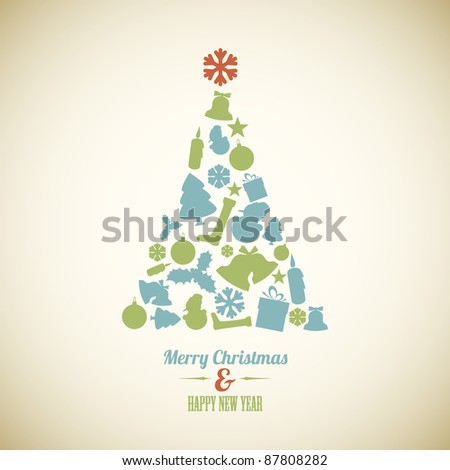 Vintage Vector christmas tree made from various shapes (blue and green)